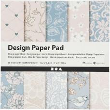 Dizajnový papier 15x15 Pastelový ružový/sivý