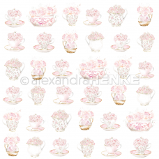 Vzorovaný papier A. Renke Šálky s ružami