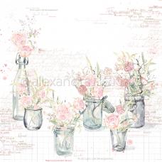 Vzorovaný papier A. Renke Vázy s ružami